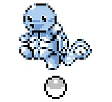 Squirtle With Pokeball Retro 8-Bit Photographic Print