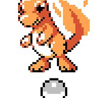 Charmander With Pokeball Retro 8-Bit by BrianShepherd