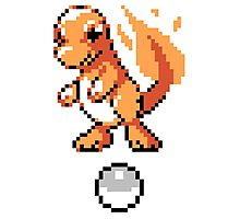 Charmander With Pokeball Retro 8-Bit Photographic Print