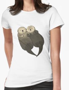 Significant Otters - Otters Holding Hands Womens Fitted T-Shirt