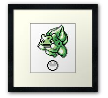 Bulbasaur With Pokeball Retro 8-Bit Framed Print