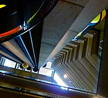 Looking Up Hyatt Embarcadero Elevator, San Francisc, CA by Scott Johnson