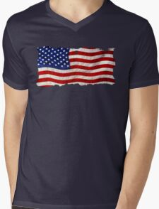 Tattered Grunge Patriotic USA Flag, United States Mens V-Neck T-Shirt
