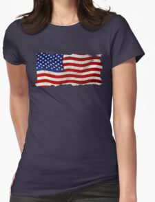 Tattered Grunge Patriotic USA Flag, United States Womens Fitted T-Shirt