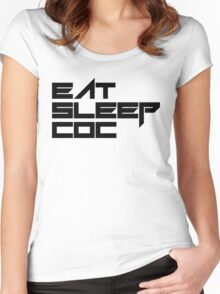 eat, sleep, coc (clash of clans) typography - foughtknight Women's Fitted Scoop T-Shirt