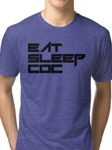 eat, sleep, coc (clash of clans) typography - foughtknight Tri-blend T-Shirt