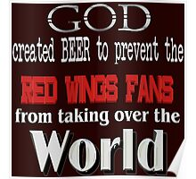 God, Beer & the Red Wings for Dark Backgrounds Poster