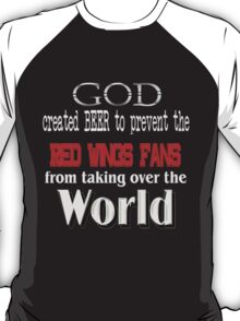 God, Beer & the Red Wings for Dark Backgrounds T-Shirt