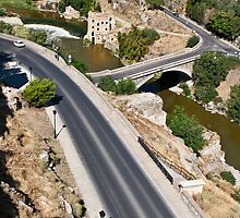 Roads and bridge over Tagus river in Toledo, Spain by Andrey Vostrikov