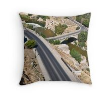 Roads and bridge over Tagus river in Toledo, Spain Throw Pillow