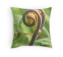 Unfurling Fiddlehead of a Common Fern Throw Pillow