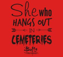 She Who Hangs Out in Cemeteries (Black) T-Shirt