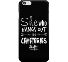 She Who Hangs Out in Cemeteries (White) iPhone Case/Skin