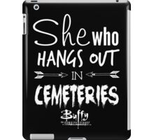 She Who Hangs Out in Cemeteries (White) iPad Case/Skin