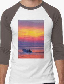 lonely boat at sunset (for Dandy) Men's Baseball ¾ T-Shirt