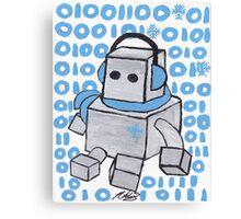 Let It Snow Binary Robot Canvas Print