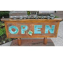 Railway Museum ' OPEN' Sign in Lake Louise. Photographic Print