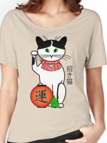 Maneki Neko (Japanese Lucky Cat) Peony Women's Relaxed Fit T-Shirt