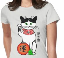 Maneki Neko (Japanese Lucky Cat) Peony Womens Fitted T-Shirt