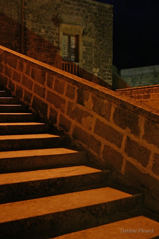 Castle Stairs at Night - Maglie Italy by Debbie Pinard