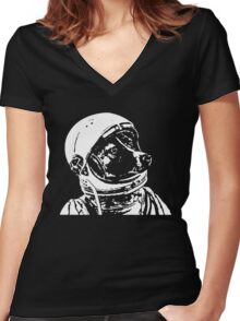 Astronaut Dog Cool Women's Fitted V-Neck T-Shirt
