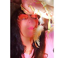 Blowing Deerbone Feather Rainbow series Photographic Print
