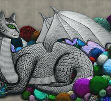 Tabby Dragon with Yarn Hoard by shaneisadragon