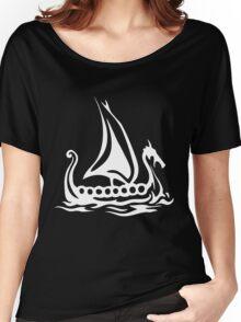 Cartoon Fishing Sailing Boat Women's Relaxed Fit T-Shirt