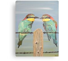 On The Wire, Bee-eaters Canvas Print
