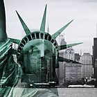Statue of Liberty meets Manhattan by smilyjay