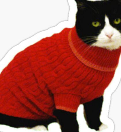 Turtle neck cat Sticker