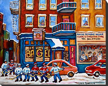 St. Viateur Bagel with Hockey by Carole  Spandau