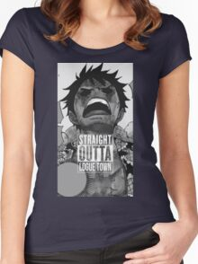 """Luffy  """"Straight Outta LogueTown"""" Women's Fitted Scoop T-Shirt"""