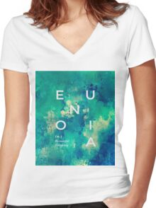 * Eunoia* #redbubble Women's Fitted V-Neck T-Shirt