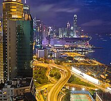 Glowing nights of Hong Kong by Delfino
