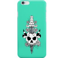 Skull And Flowers (Black And White) iPhone Case/Skin