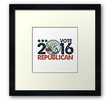 Vote Republican 2016 Elephant Boxer Circle Etching Framed Print
