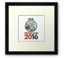 Vote Republican 2016 Elephant Boxer Etching Framed Print