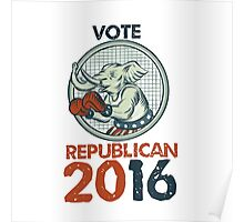 Vote Republican 2016 Elephant Boxer Etching Poster