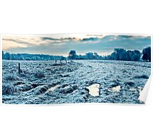 Frosty field in Cambridgeshire Poster