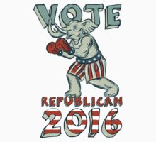 Vote Republican 2016 Elephant Boxer Isolated Etching T-Shirt