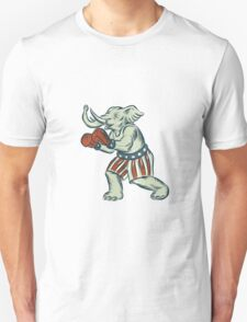 Republican Elephant Boxer Mascot Isolated Etching T-Shirt