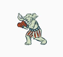 Republican Elephant Boxer Mascot Isolated Etching Unisex T-Shirt