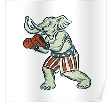 Republican Elephant Boxer Mascot Isolated Etching Poster