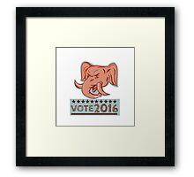 Vote 2016 Republican Elephant Mascot Head Etching Framed Print