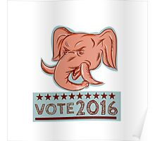 Vote 2016 Republican Elephant Mascot Head Etching Poster