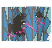 Flying Tui in Forest with Pink Ribbon Poster