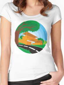 landscape with building illustration Women's Fitted Scoop T-Shirt