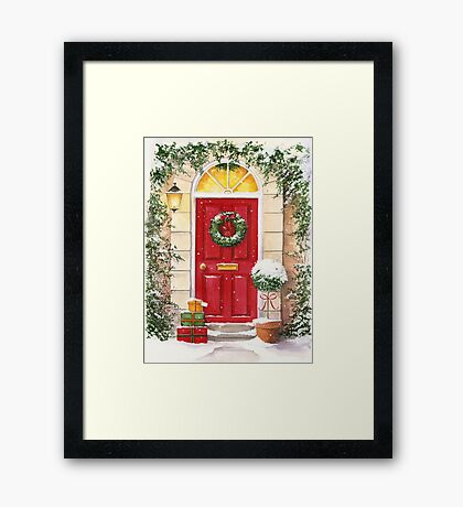 Red Door decorated for Christmas Framed Print