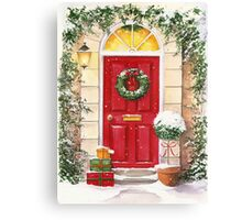 Red Door decorated for Christmas Canvas Print